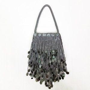 Max Mayer Charcoal Beaded Sequined Purse Handbag